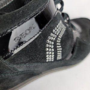 Geox Bling Wedge Sneaker Platform Black PU Suede 5